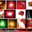 Collection of 12 Christmas Backgrounds - Set 1 - Stock Vector