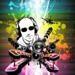 Light Explosion Disco Flyer with DJ shape — Stock Vector
