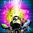 Colorful DJ Disco Flyer with Rainbow Colours — Vector de stock #6727797