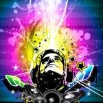 gökkuşağı renkleri ile renkli dj disco el ilanı — Stok Vektör