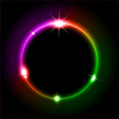 Glowing Circles of llight with Raibow Colours Background — Stock Vector