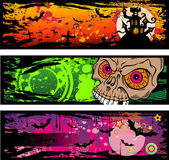 Halloween Grunge Style Banners With Horror Elements — Stock Vector