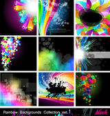Rainbow Backgrounds Collection - Set 1 Black Version — Stock Vector