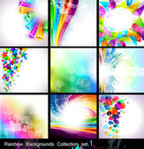 Rainbow Backgrounds Collection - Set 1 — Stock Vector