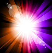 Colorful Ray of Lights explosion with lens glare effect — Stock Vector