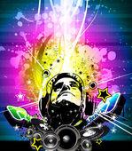 Folheto de discoteca dj colorido com as cores do arco-íris — Vetor de Stock