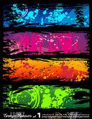 Banners de grunge estilo urbano con colores del arco iris — Vector de stock