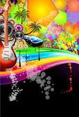 Tropical Music Event Disco Flyer — Stock Vector
