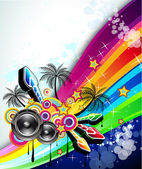 Tropical Music Event Disco Flyer — Stock Vector