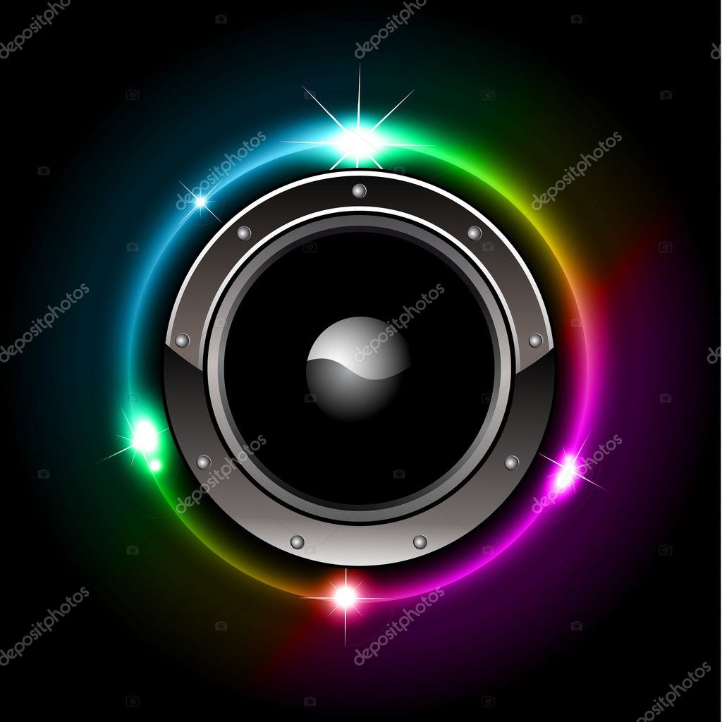 Abstract Futuristic Speaker with Glowing Lights Behind  Stock Vector #6720545
