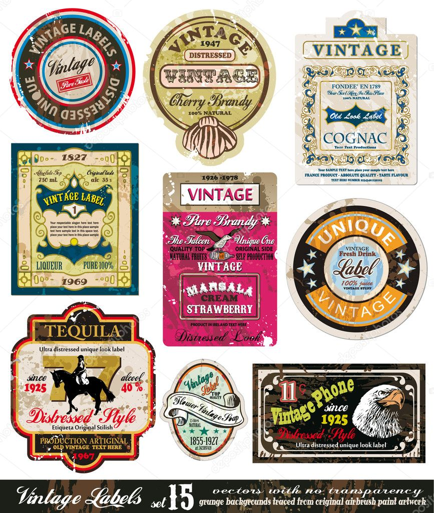 Vintage Labels Collection - nine design elements with original antique style -Set 15 — Stock Vector #6721356