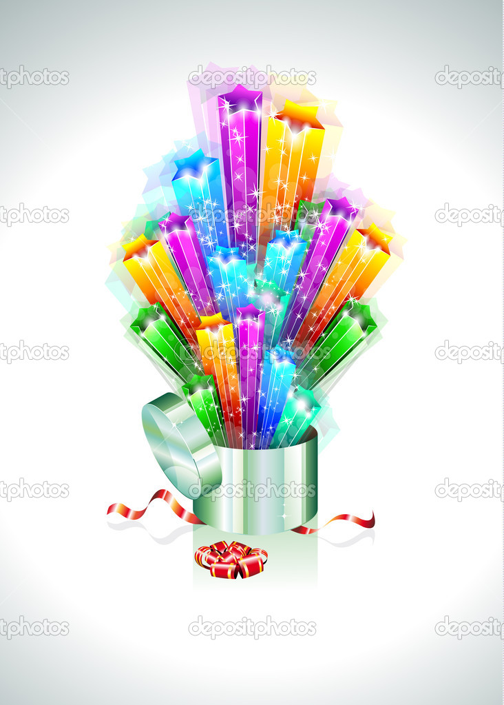 Birthday or Christmas Gift Card with an Explosion of Stars — Stock Vector #6723309