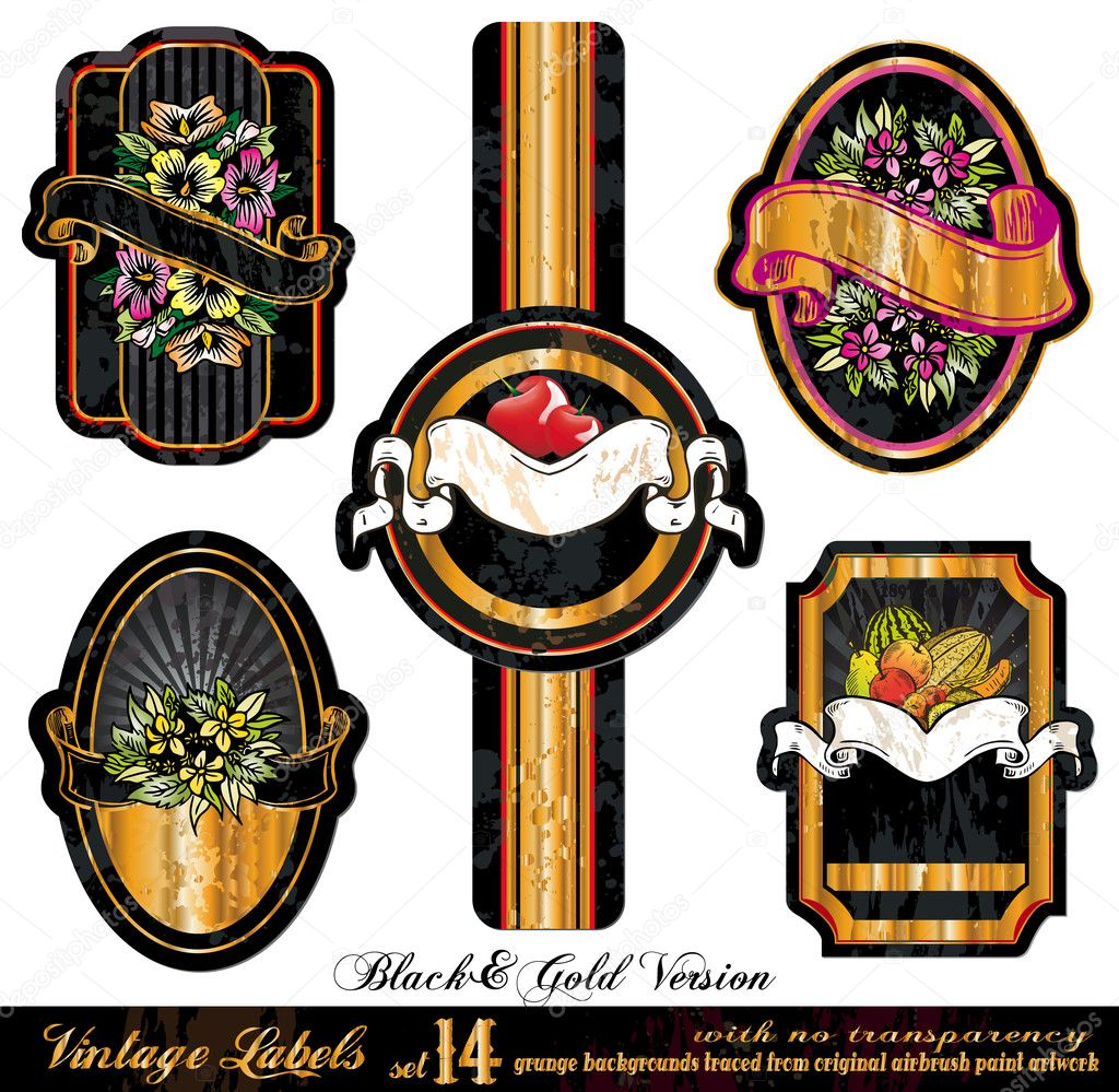 Vintage Labels Black&Gold Version - five elements with unique distressed old style - Set 14  — Stock Vector #6724547