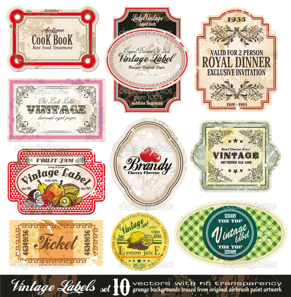 Vintage Labels Collection - 10 design elements with original antique style -Set 10 — Vettoriali Stock  #6729343