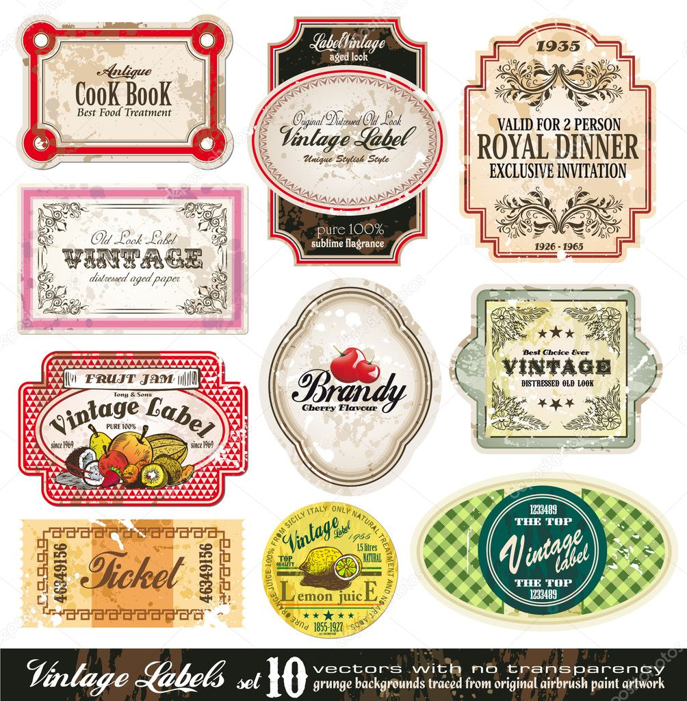 Vintage Labels Collection - 10 design elements with original antique style -Set 10 — ベクター素材ストック #6729343