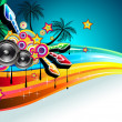 Stock Vector: Tropical Disco Dance Background