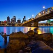 Portland Oregon Skyline at Blue Hour - Stock Photo
