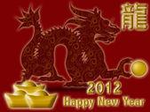 Gelukkig chinees nieuw jaar 2012 met dragon en symbool rood — Stockfoto