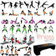 Stock Vector: 40 Fitness silhouettes set
