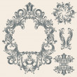 Vintage floral frames set — Stock Vector