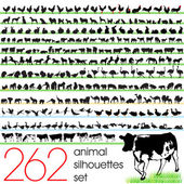 Animals silhouettes set of 262 — Stock Vector