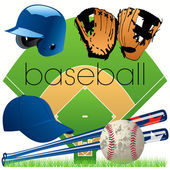 Baseball equipment set — Stock Vector