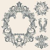 Vintage floral frames set — Stock Vector