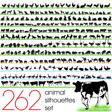 Animals silhouettes set of 262