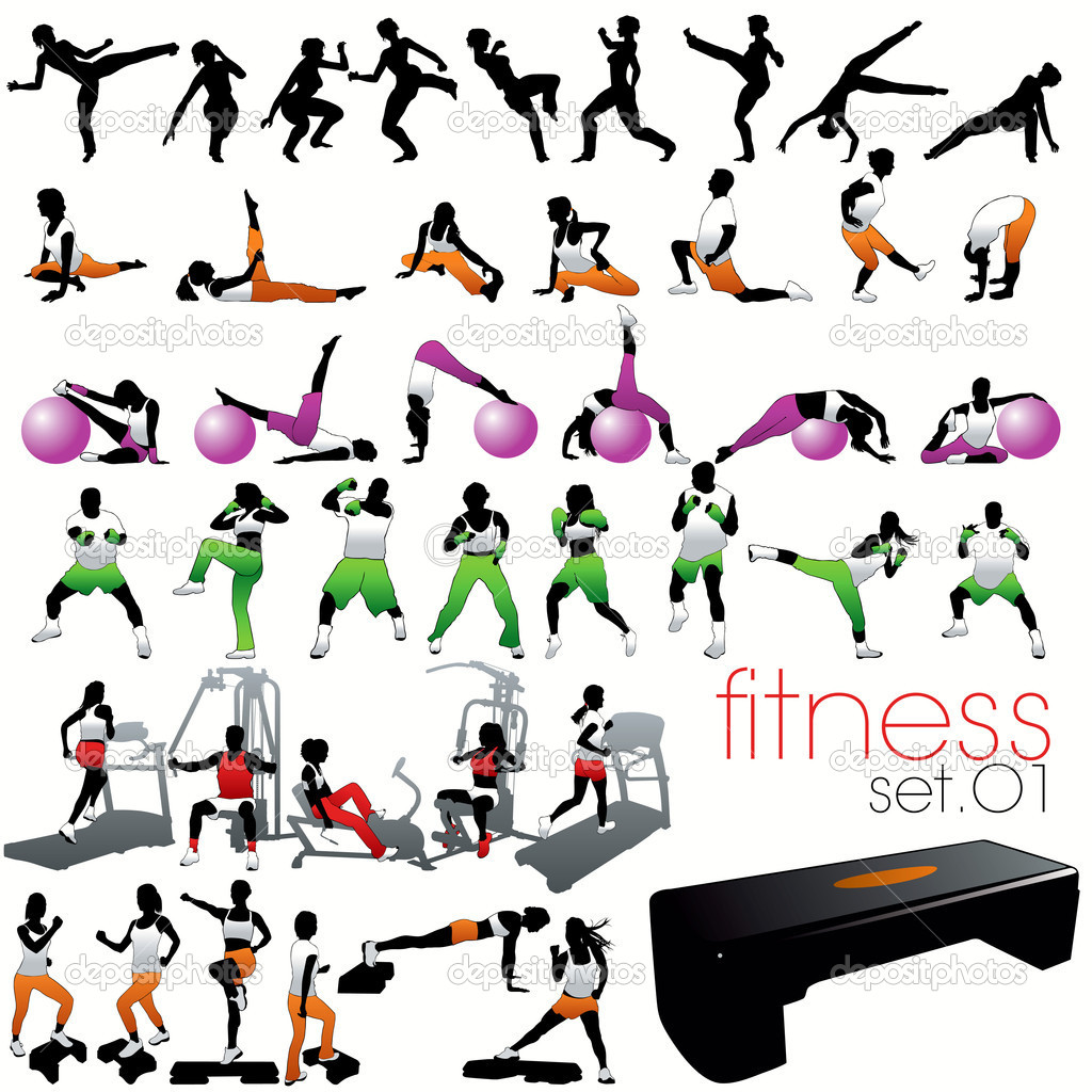 40 Fitness silhouettes set  Stock Vector #6720826