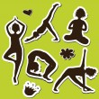 Royalty-Free Stock Vector Image: Yoga girls Silhouette