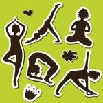 Yoga girls Silhouette — Stock Vector