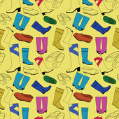 Seamless shoes yellow pattern — Stock Vector