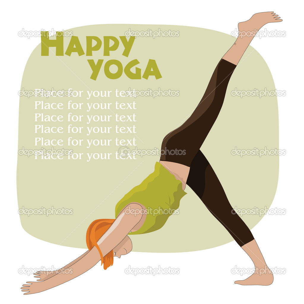Yoga girl with frame and place for text — Stock Vector #6723992