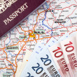 Passport, Euros and Berlin Map - Stock Photo