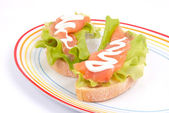 Sandwich with red fish — Stock Photo