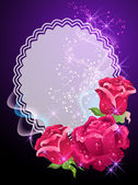 Glowing background with roses smoke and stars