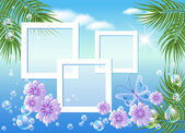 Design photo frames with sea landscape with palm flowers bubbles and butterfly