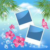 Design photo frames with sea landscape with palm flowers and bubbles