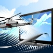 thumbnail of Air force. Combat helicopter on the dotted background and di
