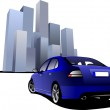 thumbnail of Luxury blue car on the town image background. Vector illustr
