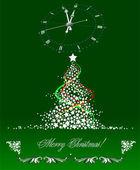 Karácsonyi - újévi fa óra képpel. Vektoros illusztráció