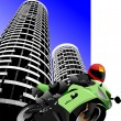 thumbnail of Biker on city background. Motorcycle. Vector illustration