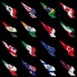 thumbnail of Set of european, african and american flags on wings