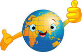 Cartoon world globe giving thumbs up (Old World)