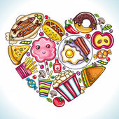 I love to Eat Vector illustration of cute heart made of different types of delicious food