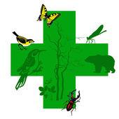 Vector silhouette animal on green cross
