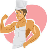 Naked muscular cook wearing apron