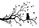 Cat sitting on a tree watching birds vector background