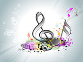 Abstract grungy colorful design background with musical notes