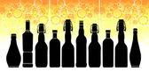 Ilustrace s lahví různých tvarů a velikostí